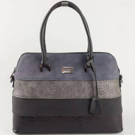 Черна дамска чанта David Jones с акценти в синьо и сиво ch5256-1ch