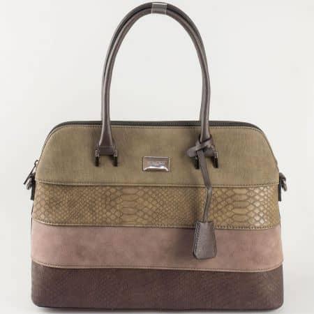 Кафява дамска чанта David Jones с къса и дълга дръжка ch5256-1k