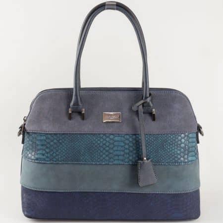 Синя дамска чанта David Jones със змийски принт ch5256-1s