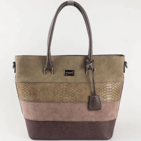 Кафява дамска чанта David Jones с акцент в бежово ch5256-2k