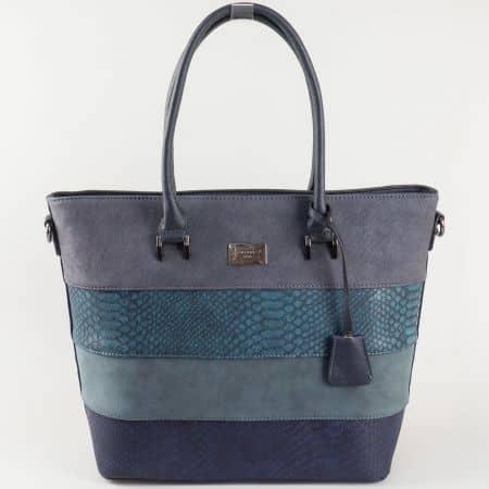 Синя дамска чанта David Jones със змийски мотив и висулка ch5256-2s