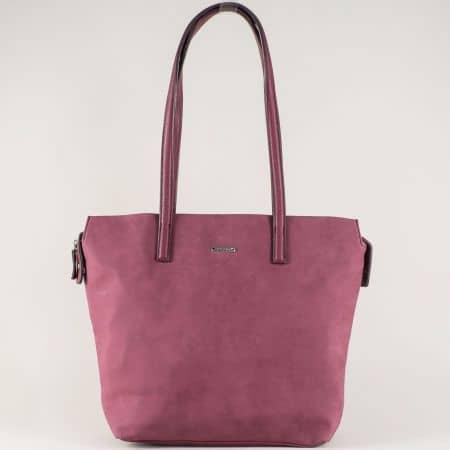 Дамска чанта в цвят бордо с външен джоб с цип ch5282-2l