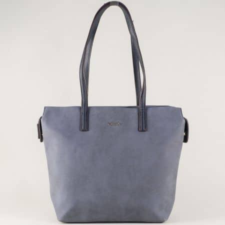 Френска дамска чанта с две средни дръжки в син цвят ch5282-2s