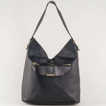 Черна дамска чанта с преден джоб ch5290-2ch