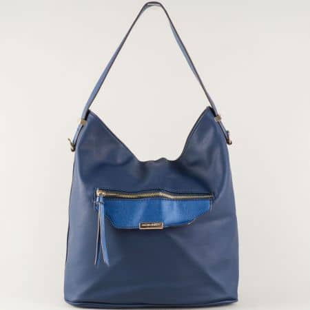 Ежедневна дамска чанта в синьо с къса и дълга дръжка ch5290-2s