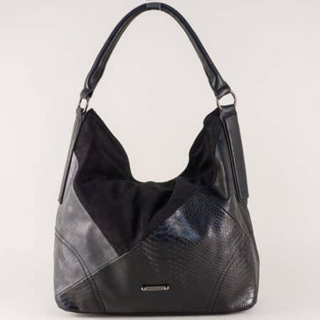 Френска дамска чанта в черен цвят с къса и дълга дръжка ch5296-1ch