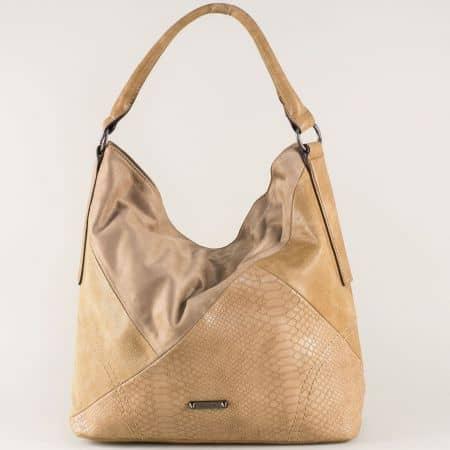 Модерна дамска чанта в кафяво с комфортна къса и дълга дръжка ch5296-1k