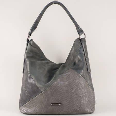 Ежедневна дамска чанта с една преграда и удобни дръжки в сиво ch5296-1sv