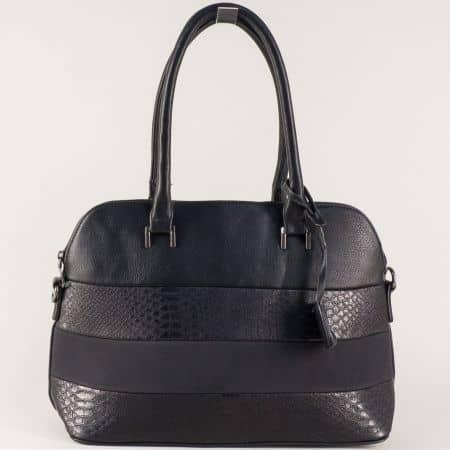 Стилна дамска чанта в черно с две къси и допълнителна дълга дръжка ch558ch