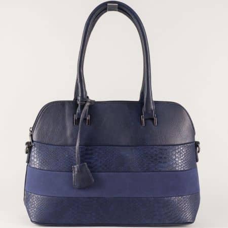 Синя дамска чанта с елегантна визия и удобни дръжки  ch558s