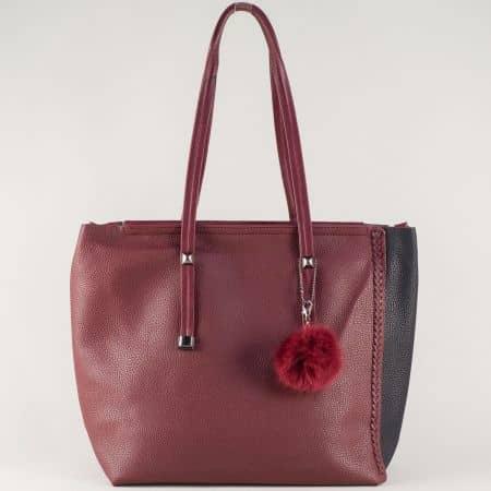 Атрактивна дамска чанта с две лица и органайзер в черно и бордо ch571bd