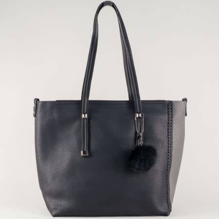 Ежедневна дамска чанта в черно и сиво с огранайзер и две лица ch571ch