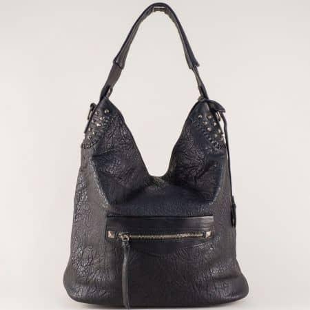Черна дамска чанта с ежедневна визия с удобни прегради ch5835ch