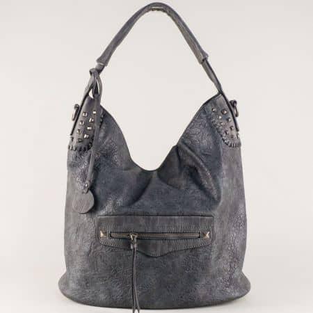 Сива дамска чанта с къса и дълга дръжка ch5835sv