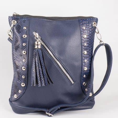 Атрактивна синя дамска чанта с кроко мотив и преден цип ch616ts