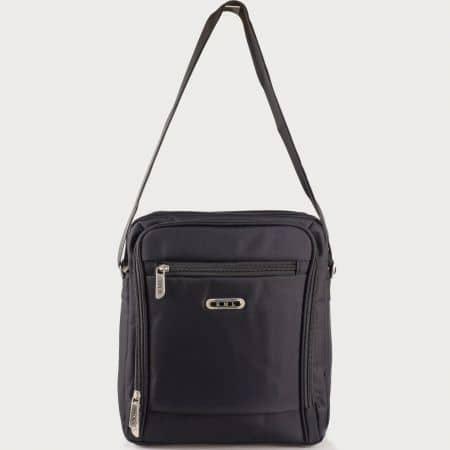 Мъжка ежедневна чанта с дълга дръжка и две прегради на български производител в черен цвят ch6181ch