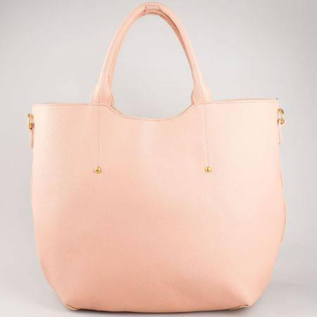 Стилна, изчистена дамска чанта в розов цвят  ch625rz