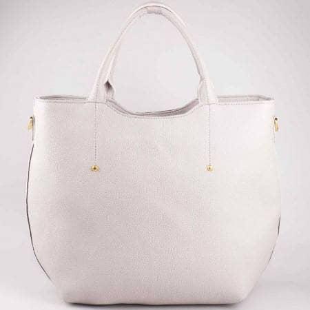 Дамска чанта с изчистена визия в сив цвят ch625sv
