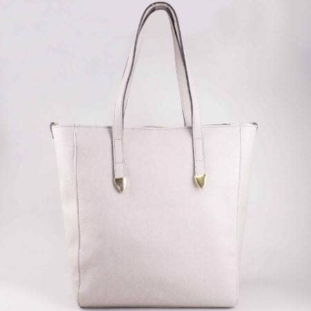Сива дамска чанта с къса и дълга дръжка на българска фирма ch629sv