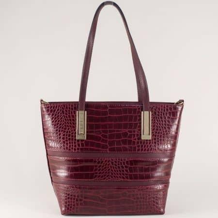 Дамска чанта в цвят бордо с къса и дълга дръжка ch667bd