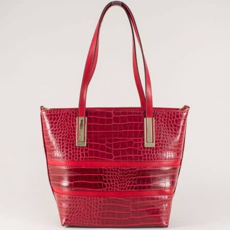 Дамска чанта с дълга и къса дръжка в червен цвят ch667chv