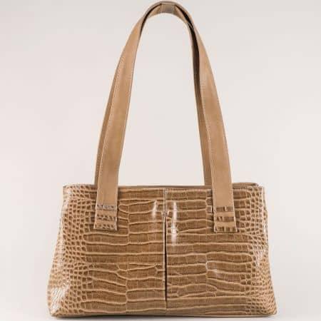 Ежедневна дамска чанта с две удобни дръжки и кроко принт ch668bj