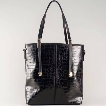 Черна дамска чанта с две къси и допълнителна дълга дръжка ch669ch