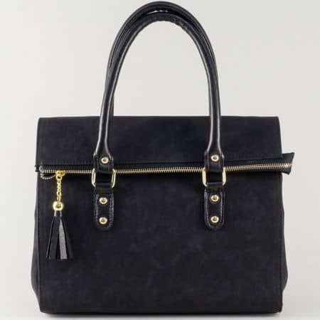 Стилна дамска чанта в черно с две къси и допълнителна дълга дръжка ch671ch