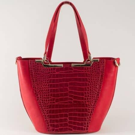 Червена дамска чанта с кроко принт и външен джоб с цип ch672krchv