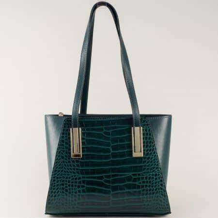 Зелена дамска чанта с две къси и допълнителна дълга дръжка ch673krz