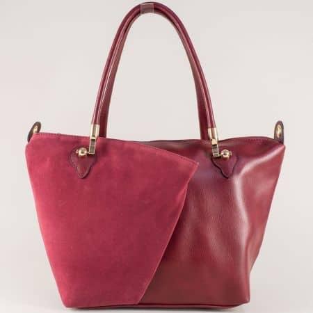 Елегантна дамска чанта с две практични прегради в бордо ch675bd