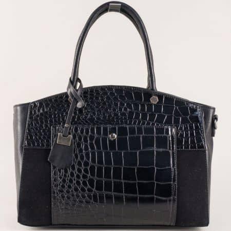 Черна дамска чанта с къси и дълга дръжка и практични джобчета ch70246ch