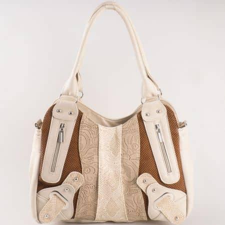 Дамска чанта с две дръжки и интересна лятна визия на водещ български производител в бежово и кафяво ch801bjk