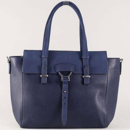 Синя дамска чанта с ефектно закопчаване ch8141s