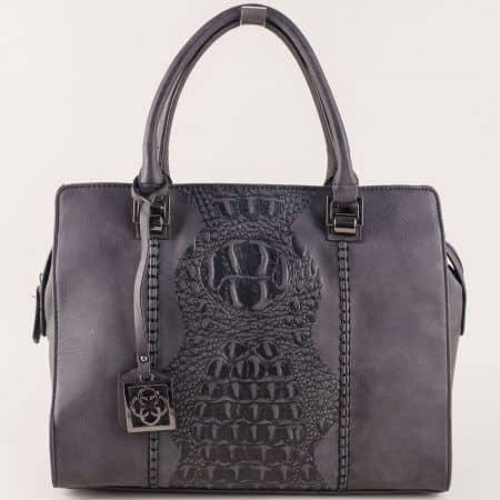 Стилна дамска чанта с две прегради и интересен дизайн ch90502ch