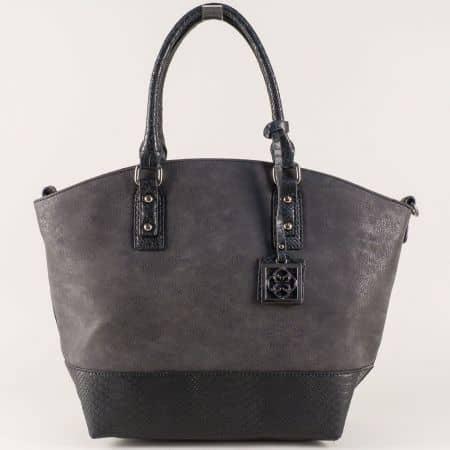 Черна дамска чанта с две прегради и удобни дръжки ch90531ch