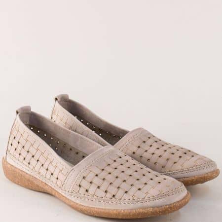 Портогалски дамски обувки от сив естествен набук cindy19sv
