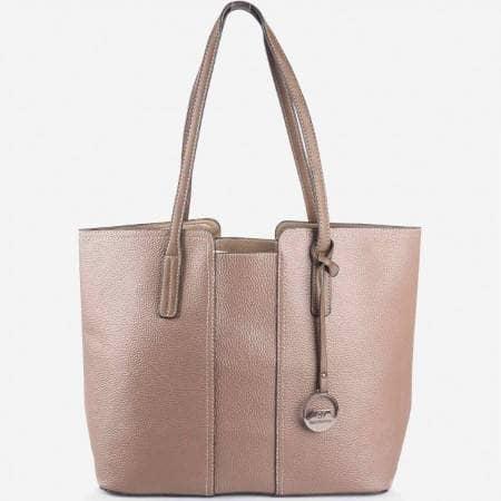 Дамска стилна чанта с вадещ се органайзър на френския произоводител David Jones в бежов цвят cm2705bj