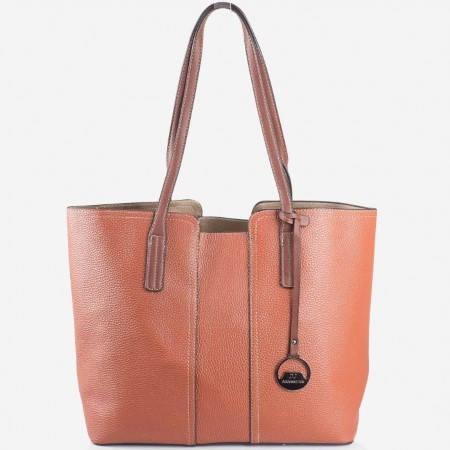 Дамска качествена чанта на известния френски производител David Jones в кафяв цвят cm2705k