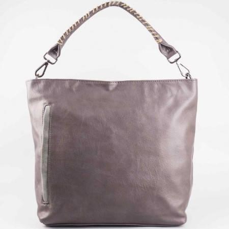 Дамска ежедневна чанта със страничен преден джоб на френската марка David Jones в сив цвят cm2736sv