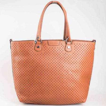 Дамска чанта за всеки ден с вадещ се органайзър на френската марка David Jones в кафяв цвят cm2815k