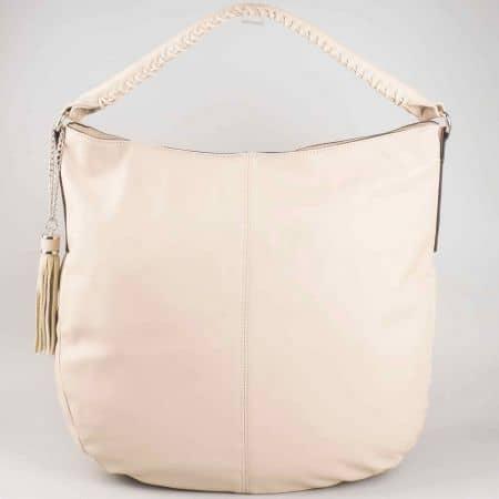 Ежедневна бежова дамска чанта David Jones с къса и дълга дръжка cm3011bj