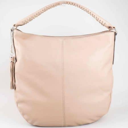 Кафява ежедневна дамска чанта David Jones с модерна къса дръжка с декоративен шев cm3011k