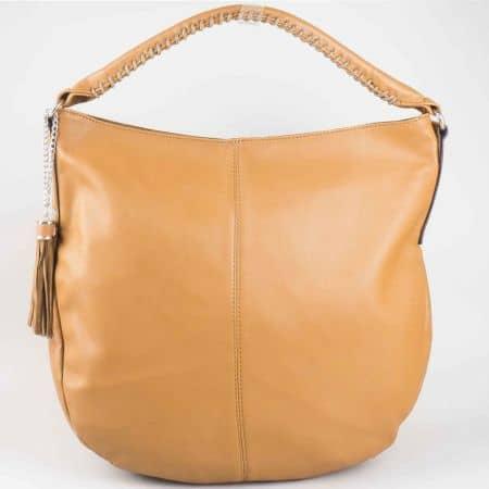 Изчистен модел тъмно кафява дамска чанта тип торба David Jones cm3011kk