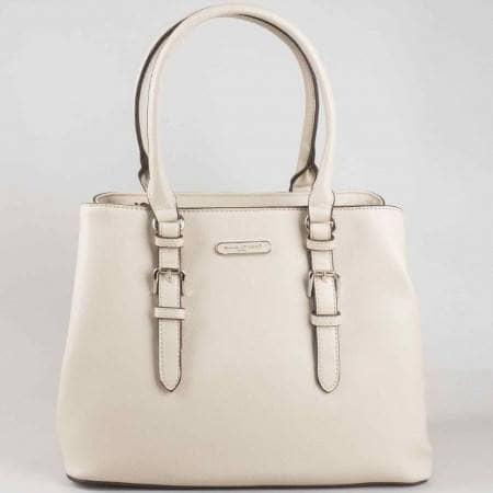 Стилна бежова дамска чанта David Jones от еко кожа cm3013bj