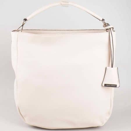 Дамска чанта David Jones в бежов цвят с къса и дълга дръжка cm3015bj