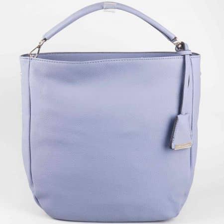 Лилава дамска чанта с къса и дълга дръжка David Jones cm3015l