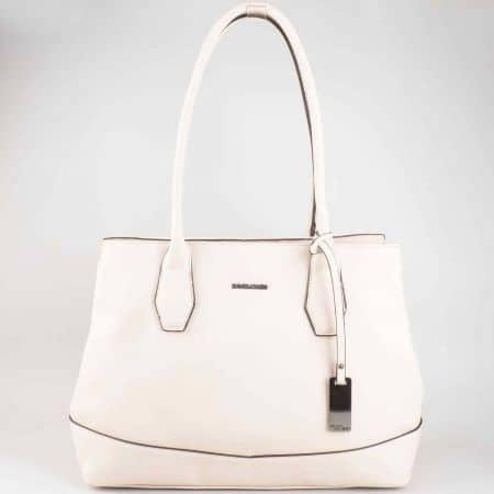 Стилна бяла дамска чанта David Jones с удобни дръжки cm3023bj