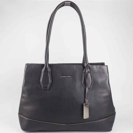 Ефектна дамска чанта David Jones в черен цвят cm3023ch