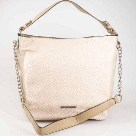 Дамска чанта за всеки ден със змийски принт и две дръжки на френския производител David Jones в бежов цвят cm3026bj